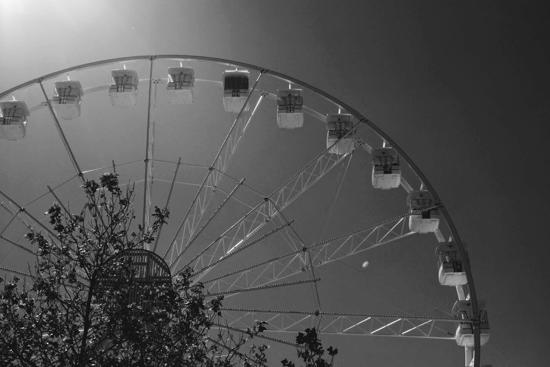 Ruota panoramica in bianco e nero